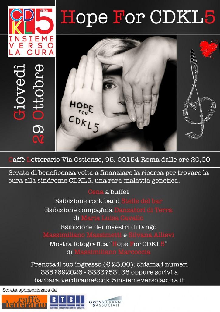 Hope For CDKL5: 29 ottobre, a Roma, tutti con Arianna